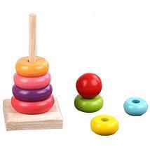 educational Wooden Rainbow Tower Stacking Block Toys