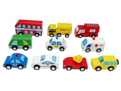 Wooden Toy Car/ School Bus/ Taxi/ Police Car Set